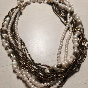 Pretty Faux Pearl and Bead multi-strand Necklace